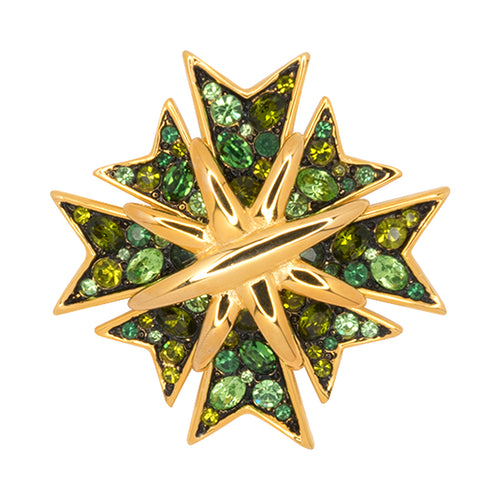 Multi Green Maltese Cross Pin