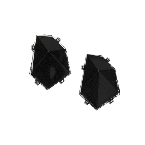 Gunmetal Diamond Clip Earrings