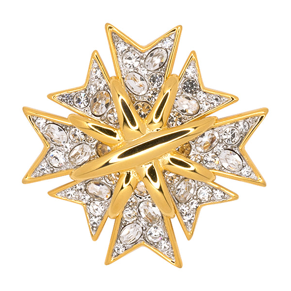 Polished Gold And Crystal Maltese Cross Pin