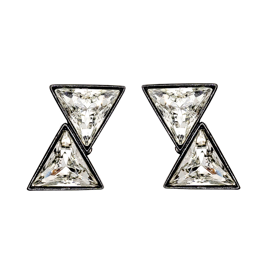 Double Triangle Crystal Clip Earrings