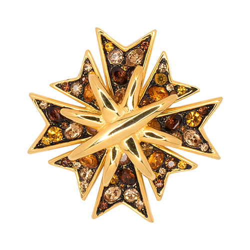 Multi Topaz Maltese Cross Pin