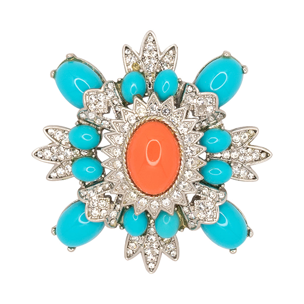 Small Turquoise And Coral Cluster Pin