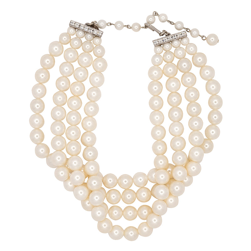 4 Row White Shell Pearl Necklace