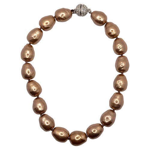 Gold Baroque Pearl and Pave Ball Necklace