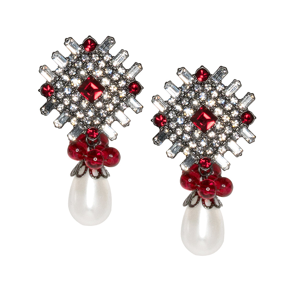 Ruby and White Pearl Drop Pierced or Clip Earrings