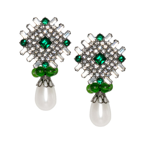 Harpers Bazaar Kazakhastan/ 2017 - Emerald and White Pearl Drop Clip Earrings