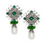Emerald and White Pearl Drop Clip Earrings