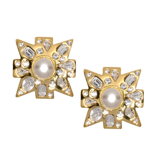Crystal And White Pearl Maltese Cross Clip Earrings