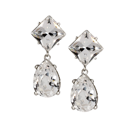 Silver And Crystal Teardrop Earring