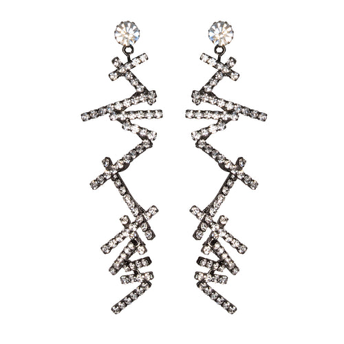 COSMOPOLITAN/February 2019 - Crystal Zig Zag Clip Earrings