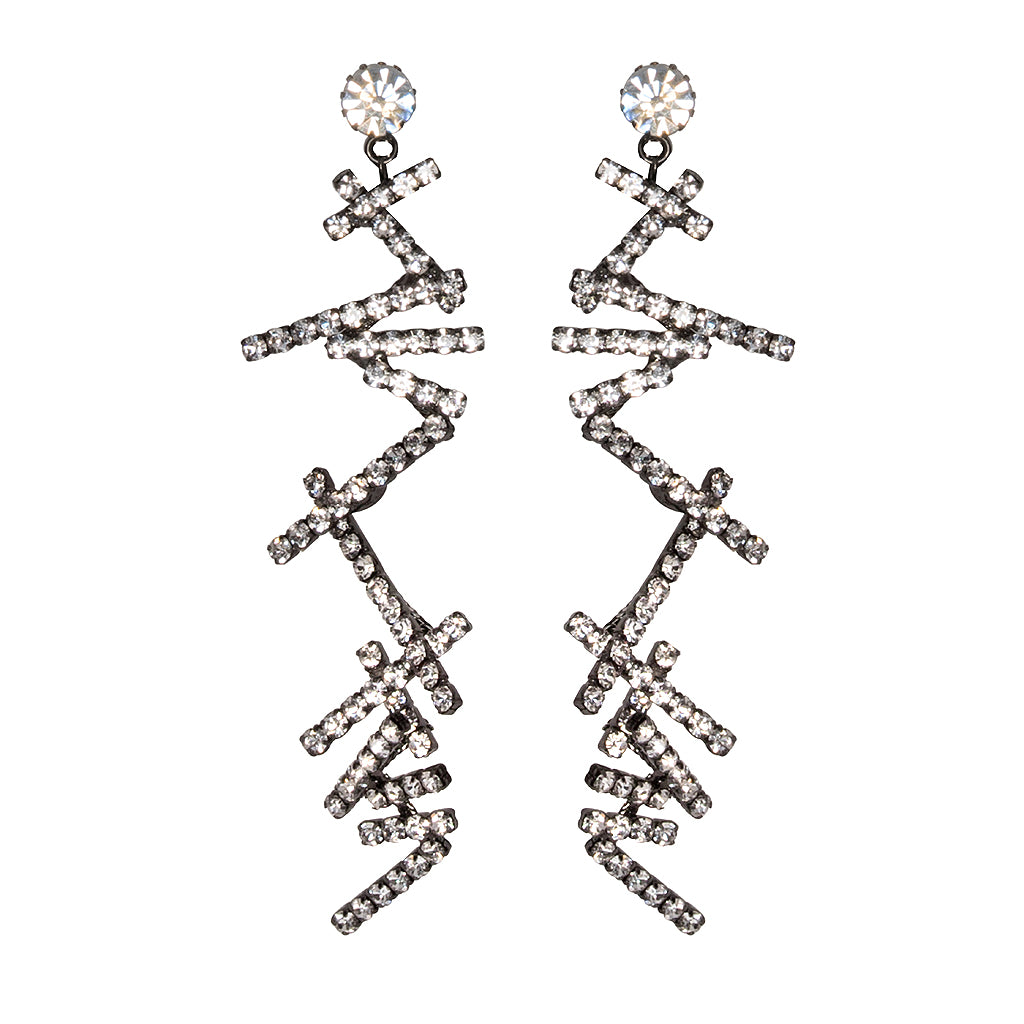 Crystal Zig Zag Clip Earrings