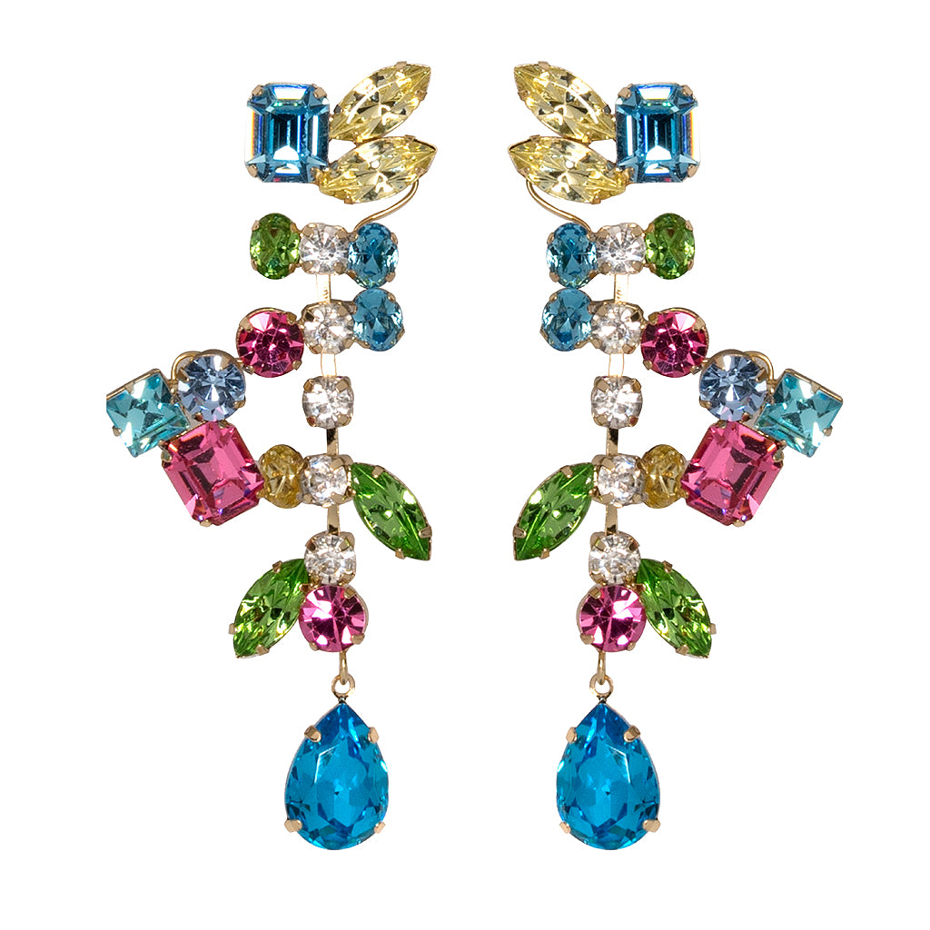 earring junkil stones color earrings gold satin multi swarovski crystals pave