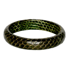 Snake Leather Bangle Bracelet - Green