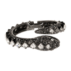 Hematite And Crystal Snake Bracelet