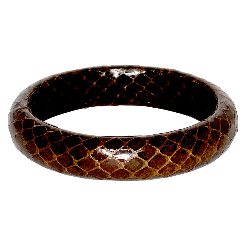 Snake Leather Bangle Bracelet - Brown