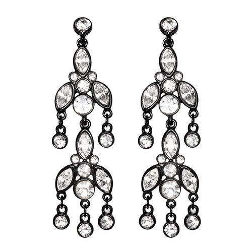 Black & Crystal Drop Clip Earrings
