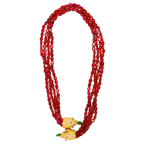 Ruby Red Snake Clasp Necklace