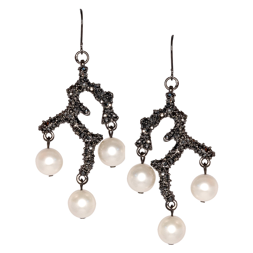 Branch & Pearl Drop Fishhook Pierced Earrings