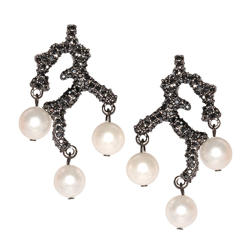 Branch & Pearl Drop Clip Earrings
