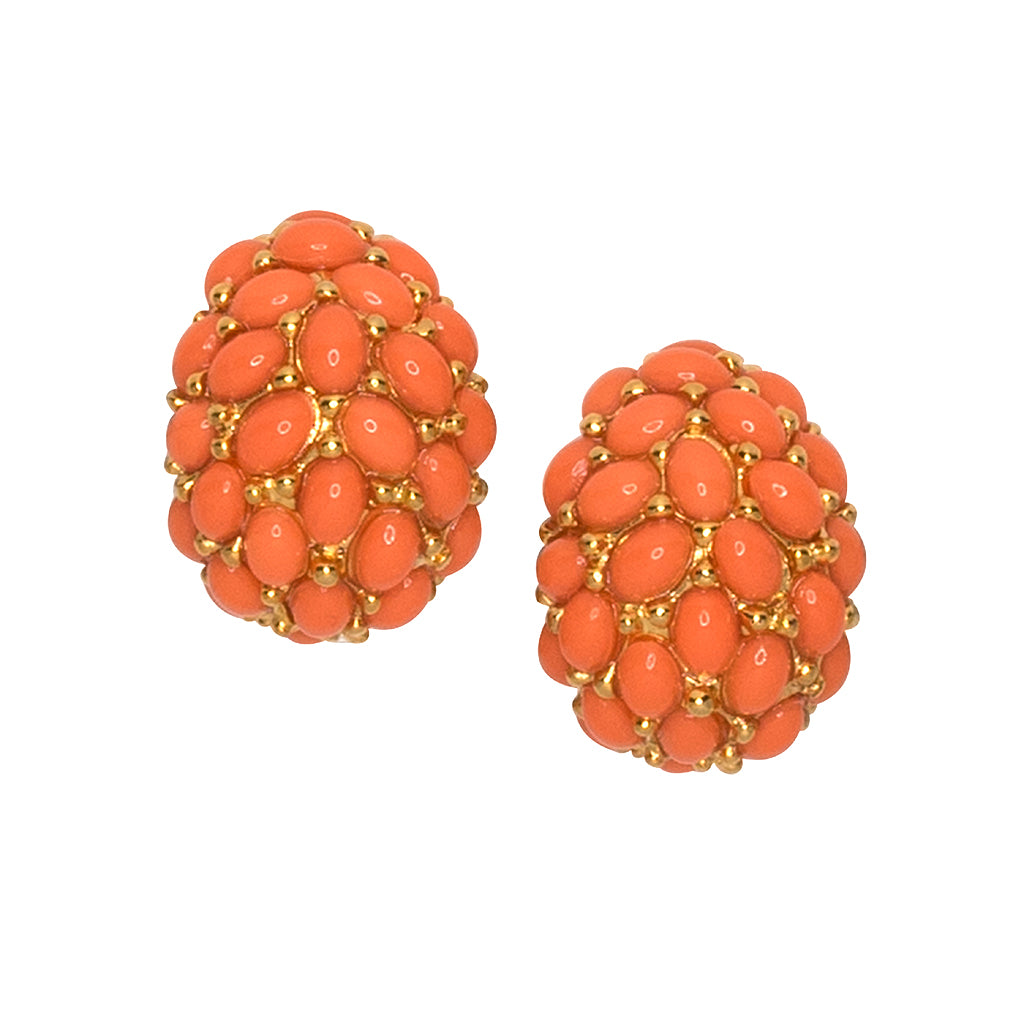 Coral Cabochon Hoop Clip Earrings