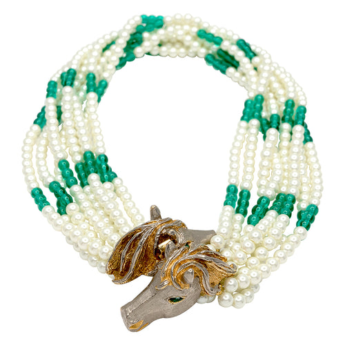 8 Row Emerald & Pearl Vintage Double Horse Clasp Necklace