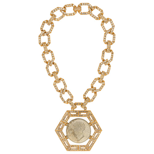 Gold Cesare Coin Necklace
