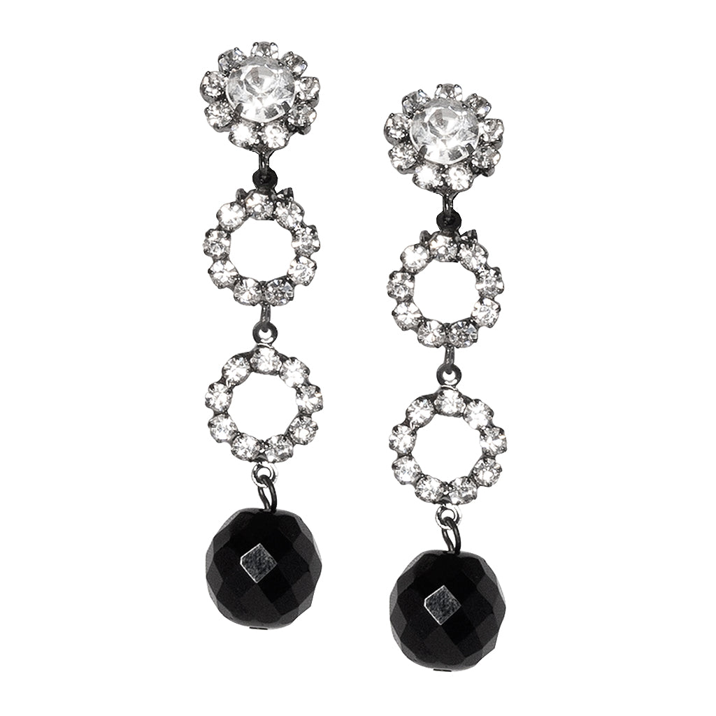 Gunmetal With Round Jetbead Drop Clip Earrings