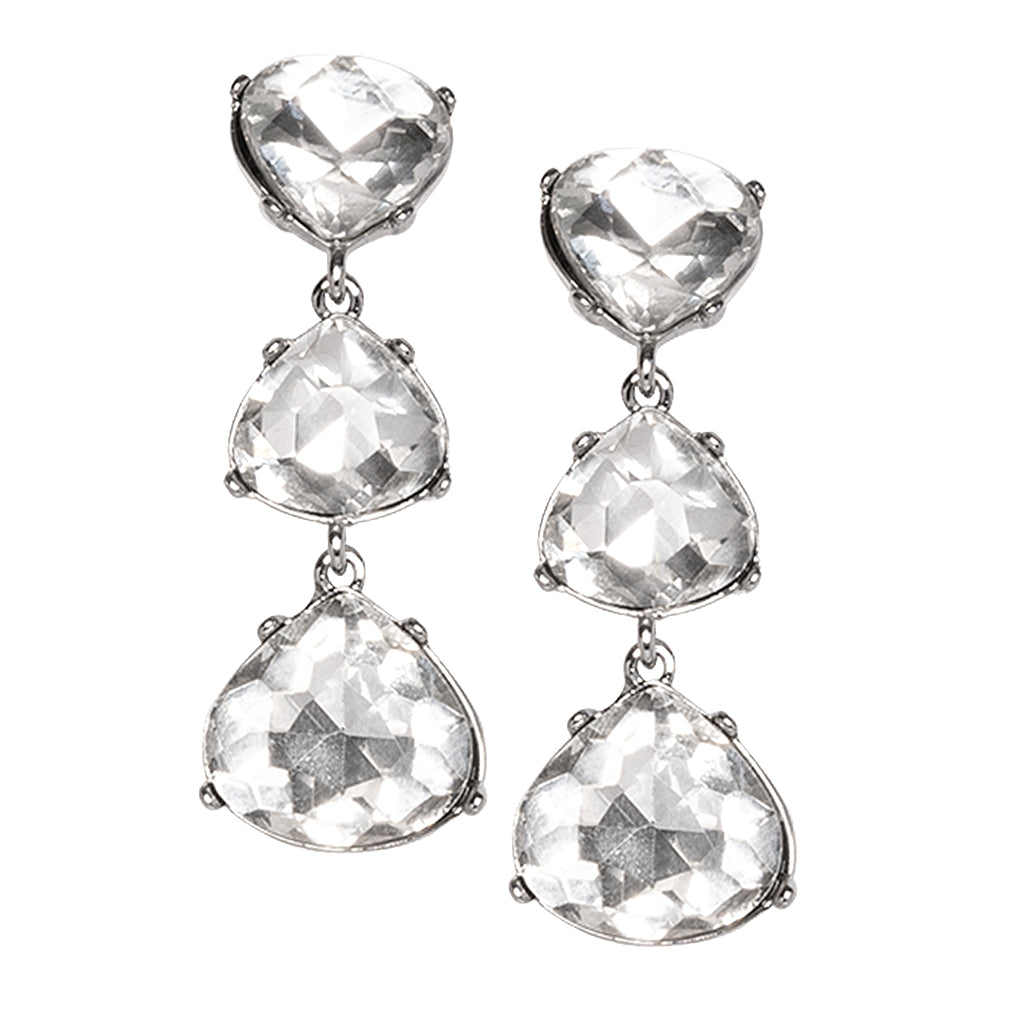 Crystal 3 Drop Clip Earrings
