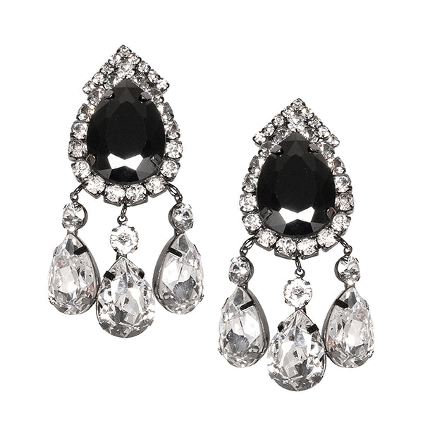 Gunmetal & Crystal Drop Clip Earrings