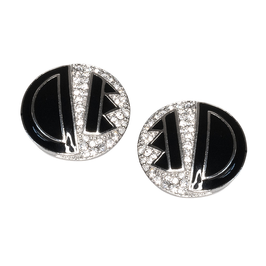 Black Deco Button Clip Earrings
