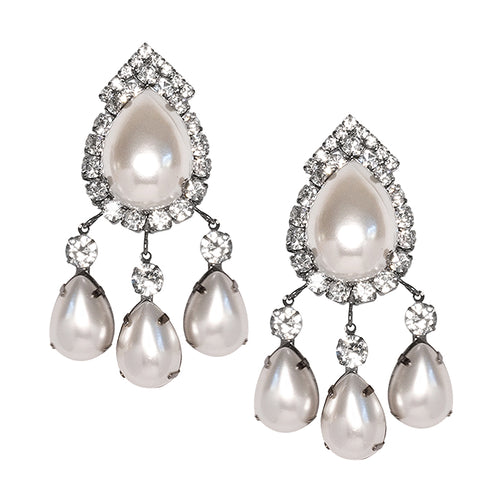Gunmetal & Crystal Pearl Top Drop Clip Earrings