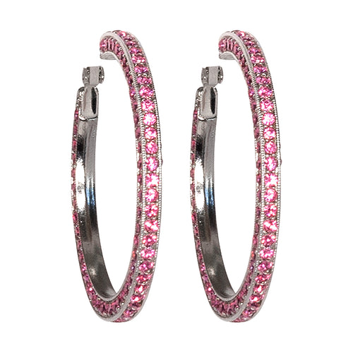 Pink Pave Large Hoop Clip Earrings