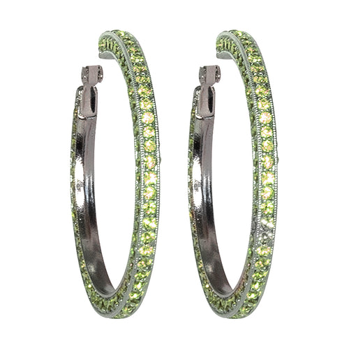 Peridot Pave Large Hoop Clip Earrings