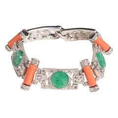 Jade And Coral Art Deco Bracelet