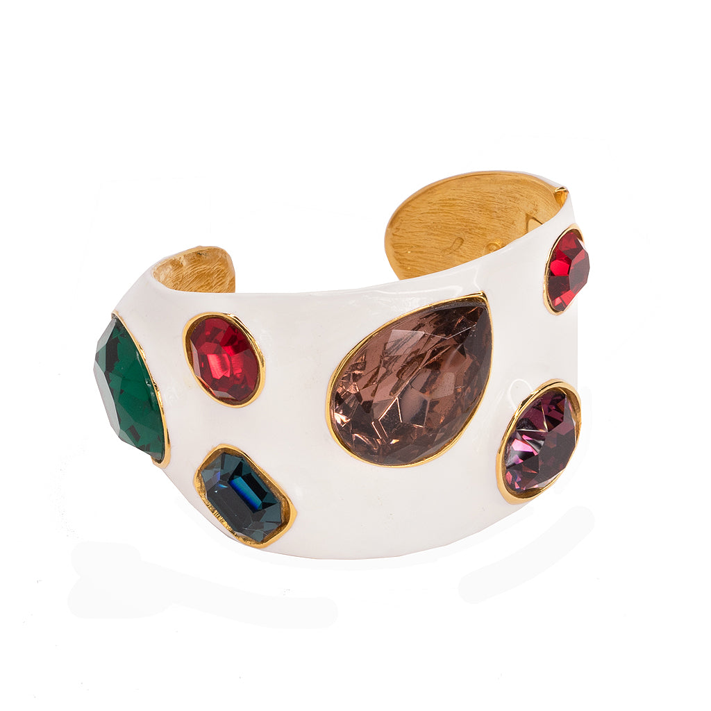White Enamel & Multi-color Cuff
