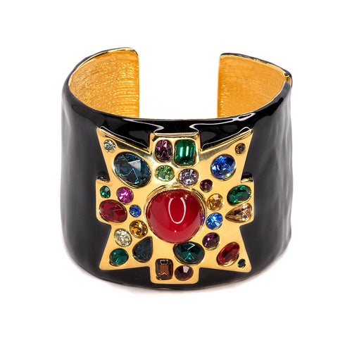 Black Enamel Maltese Cross Cuff