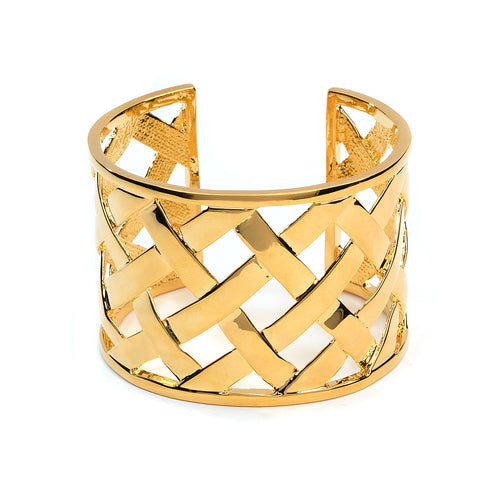 Polished Gold Basketweave Cuff