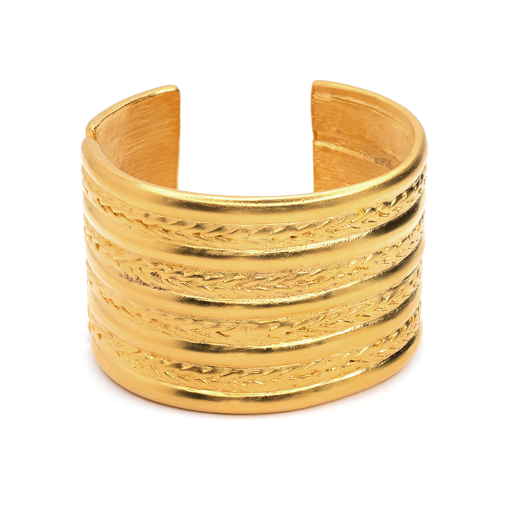 Kenneth Jay Lane Braid Design Cuff Bracelet Gold