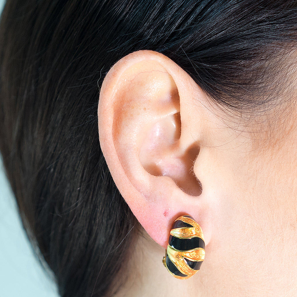 Tiger Stripe Clip Earrings