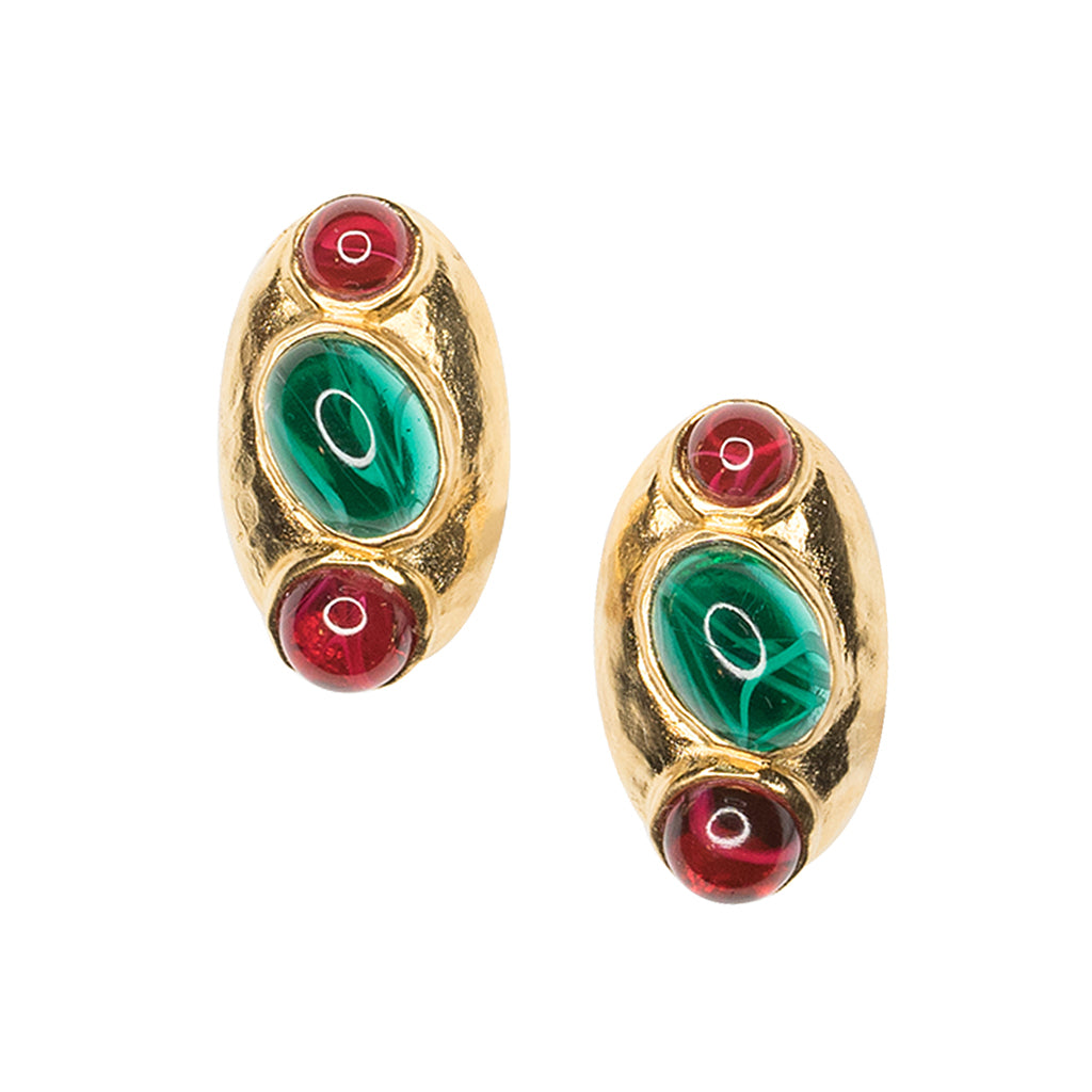 Ruby And Emerald Clip Earring