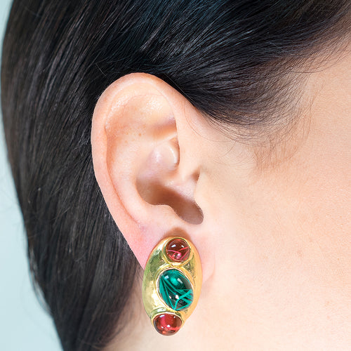 Ruby And Emerald Clip Earrings