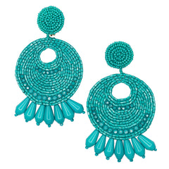The Knot/Summer 2019 - Turquoise Seed Bead Round Gypsy Hoop With Drops Pierced or Clip Earrings