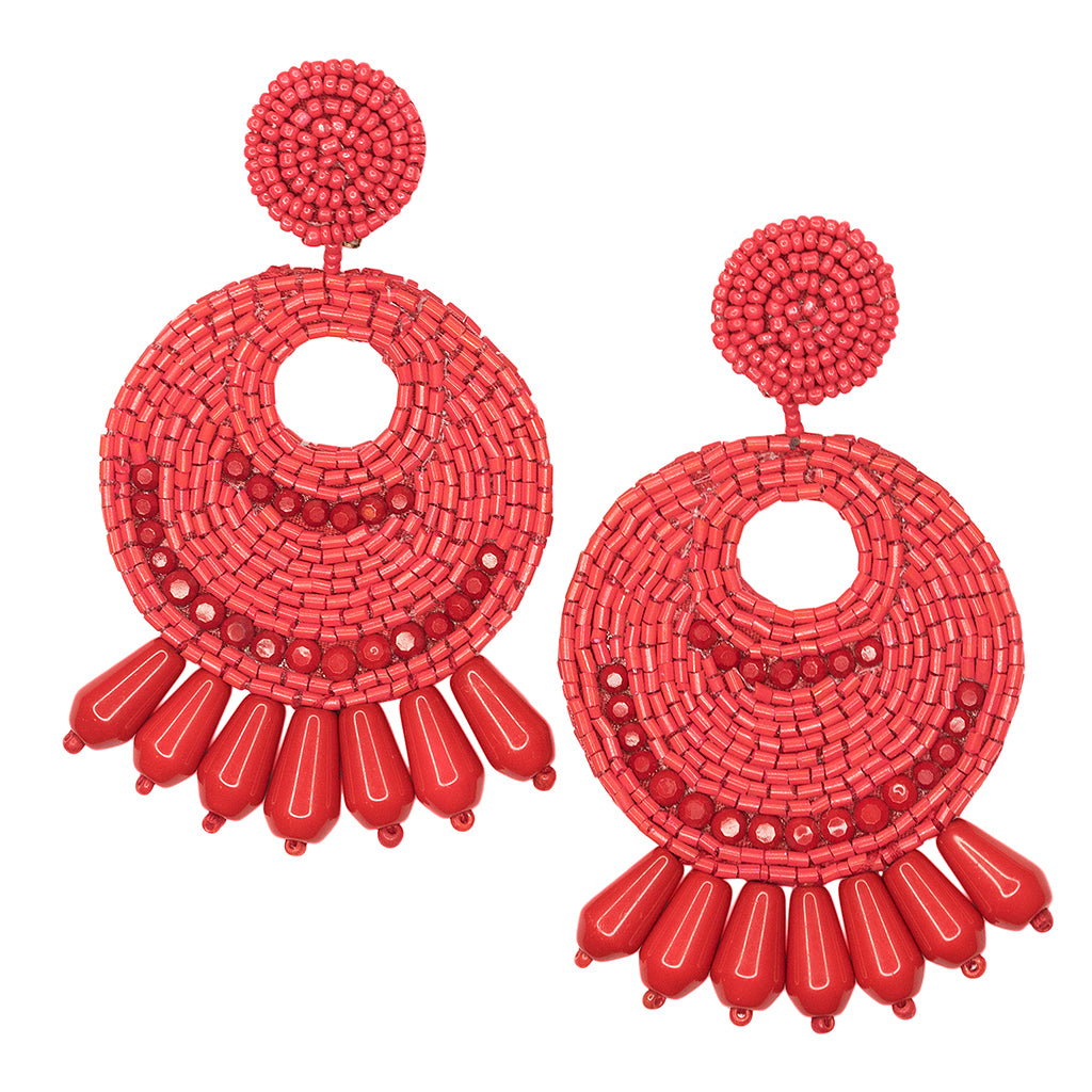 Large Red Seed Bead Round Gypsy Hoop Pierced or Clip Earrings