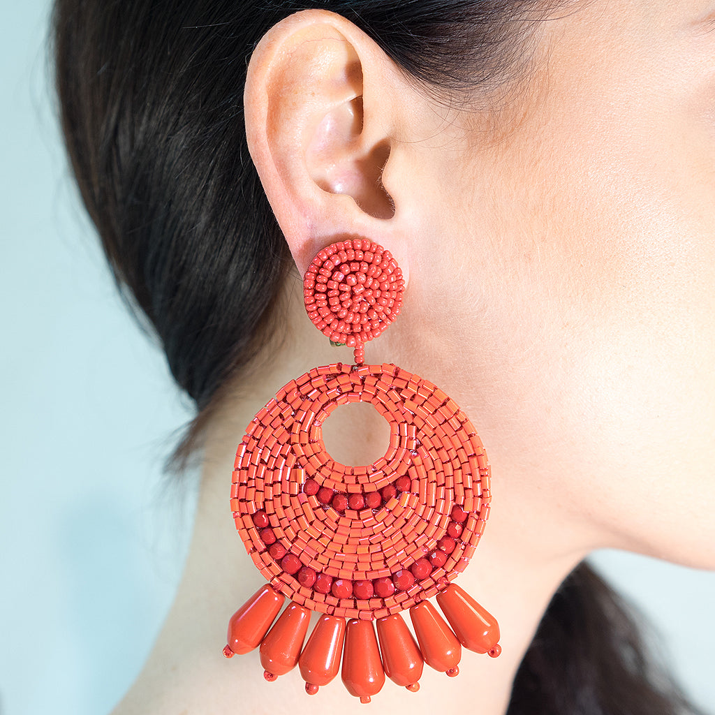 Large Red Seed Bead Round Gypsy Hoop With Drops Clip Earring