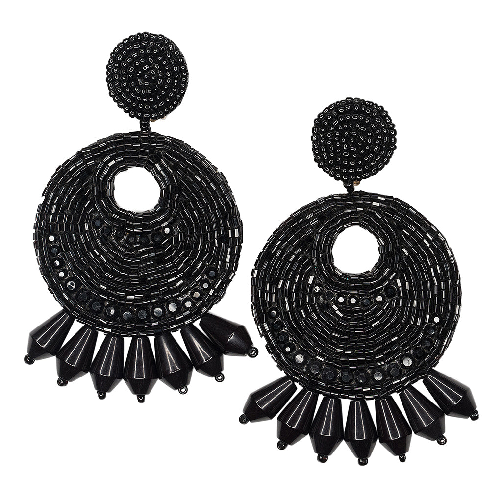 Black Seed Bead Round Gypsy Hoop With Drops Pierced or Clip Earrings
