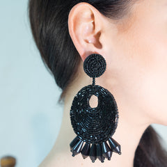 Black Seed Bead Round Gypsy Hoop With Drops Clip Earring