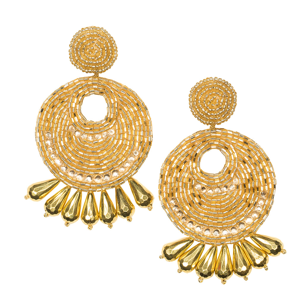 Gold Seed Bead Round Gypsy Hoop With Drops Pierced or Clip Earrings