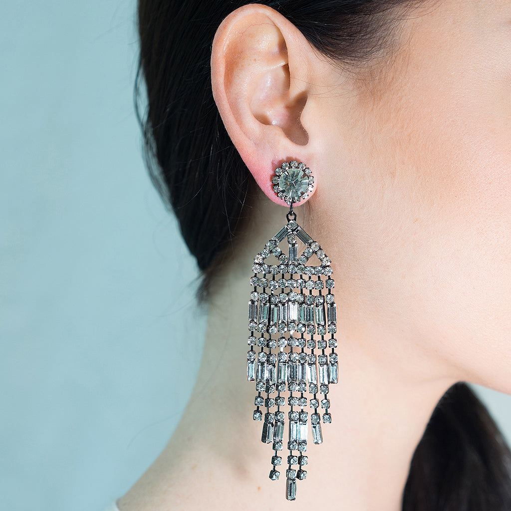 Gunmetal and Crystal Waterfall Clip Earrings