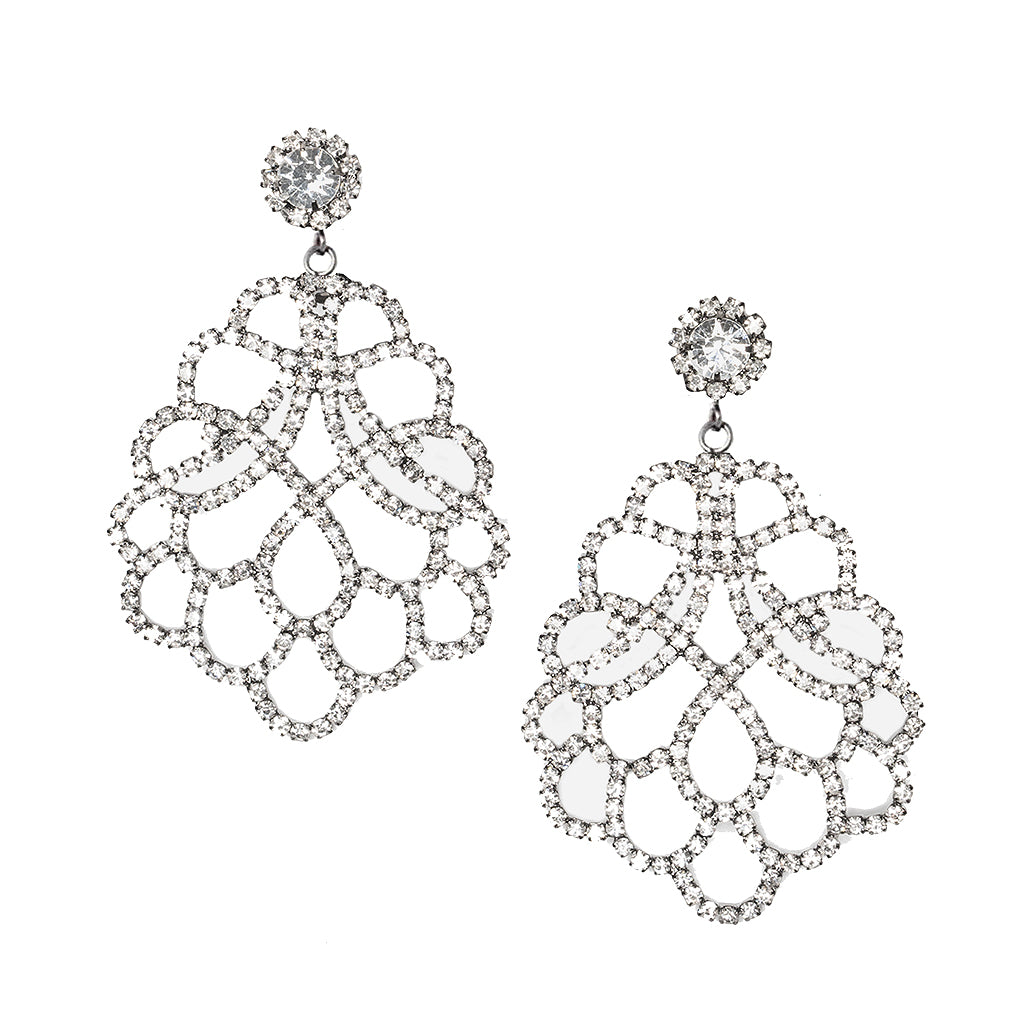 Crystal Lace Pierced or Clip Earrings