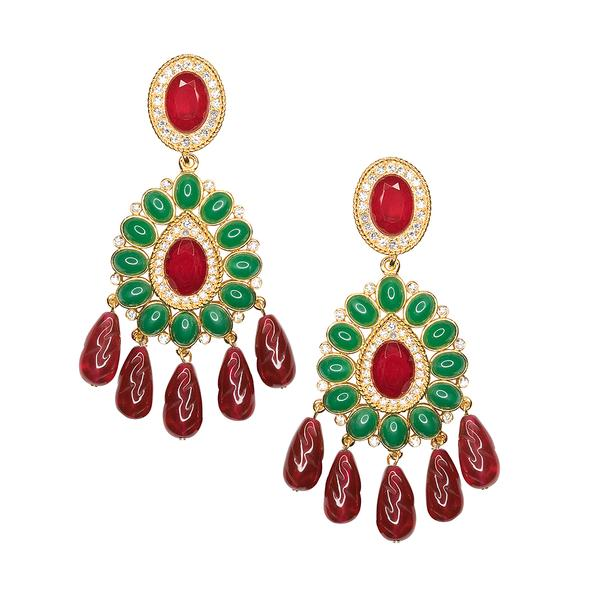 Ruby And Emerald Drop Clip Earrings